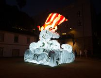 Lunar Lantern `The Ox` is zodiac symbol of Ox will be illuminated from dusk at Circular Quay. royalty free stock image