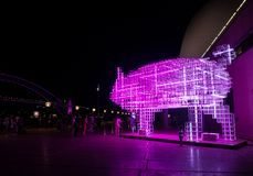 Lunar Lantern `The Pig` is zodiac symbol of Pig will be illuminated from dusk at Circular Quay. stock image