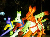 Lunar Lantern `The Rabbit` is zodiac symbol of Rabbit will be illuminated from dusk at Circular Quay by Artist Claudia Chan Shaw. royalty free stock photos