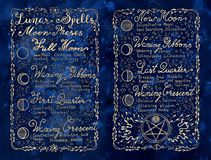 Lunar magic spells on blue textured background Stock Images
