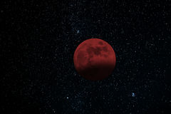 lunar moon för förmörkelse över havet Blodmåne arkivbilder