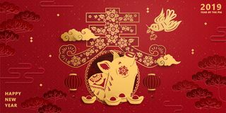Lunar new year piggy banner. Lunar new year banner design with golden color piggy in spring word written in Chinese characters, red auspicious background