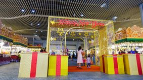 Lunar New Year decorations at MBK Mall royalty free stock images