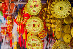 Lunar new year lucky decoration objects. words mean best wishes and good luck for the coming vietnamese new year Royalty Free Stock Photo