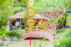 Lunar new year lucky decoration objects. words mean best wishes and good luck for the coming vietnamese new year Royalty Free Stock Photography
