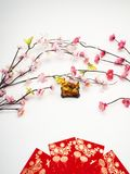 "Lunar New Year pig 2019. With pink plum flower on white background,Chinese characters translation: ""pig "".chinese wording on pig mean good bless royalty free stock images"