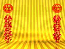 Lunar New Year's Firecrackers On Gold Text Space Royalty Free Stock Image