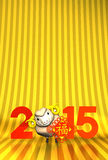 Lunar New Year's Ornament, Brown Sheep, 2015 On Gold Text Space. 3D render illustration For The Year Of The Sheep,2015 Stock Photo