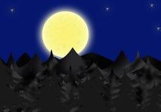 Lunar Night. Mistic dark fir-wood in the lunar night Royalty Free Stock Photos