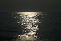 Lunar path on sea Royalty Free Stock Image