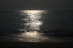 Lunar path on sea Royalty Free Stock Photography