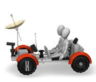 Lunar rover. 3d rendre of cartoon character with lunar rover Stock Images