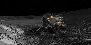 Lunar Rover near crater rim Royalty Free Stock Images
