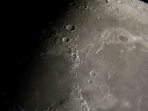 Lunar surface. Image taken through an 8 inch aperture telescope and a digital camera. Mare Imbrium, Mare Serenitatis, Mare Frigoris, craters Plato, Archimedes stock photography
