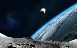 Lunar y tierra stock de ilustración