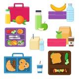 Lunchów pudełka ustawiają z warzywami, owoc, przekąskami i napojami, Obrazy Stock