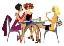 Lunch. Illustration of three women at lunch royalty free illustration