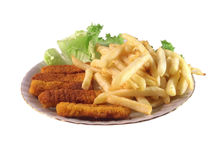 Lunch. Isolated plate  with chips and fish sticks Stock Photography