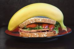 Lunch. A healthy lunch of whole grain bread, meat and vegtables with a banana to wrap it up Royalty Free Stock Image