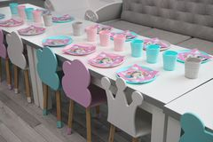 Lunch Area for Kids,modern ambient. With pink and blue colors.Designed for children royalty free stock images