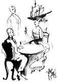 Lunch aristocrats, ink drawing Royalty Free Stock Image