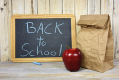 Lunch back with back to school sign Stock Photography
