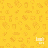Lunch Background. Seamless Pattern With Line Icons of Food Like Sausage, Salad, Porridge, Soup, Sandwich, Potatoes, Tomato etc. Stock Image