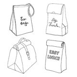Lunch bag collection. Easy lunch box concepts. Various food bags Stock Photos