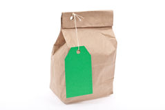 Lunch bag with green tag price Stock Photo