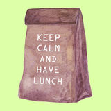 Lunch bag Keep Calm and Have Lunch. Royalty Free Stock Photos