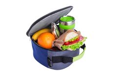 Lunch in a bag for lunch. To school or workplace royalty free stock photo
