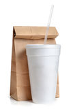 Lunch Bag. Paper bag and styrofoam cup white background Stock Photos