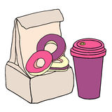 Lunch bag with sweet donuts and cup of coffee. Hand drawn sketch vector illustration