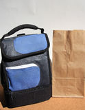 Lunch bags on desk Royalty Free Stock Photo