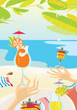 Lunch on the beach. Reach colorful illustration about resting with food on the beach. EPS 8.0. RGB Stock Image
