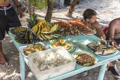 Lunch on a beach in the philippines royalty free stock photos