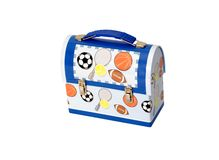 Lunch Box. Metal children's lunch box with athletic balls Royalty Free Stock Photos