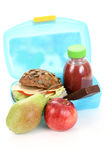 Lunch box. Box with lunch - delicious sandwich fruit and juice on white Stock Photography