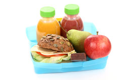 Lunch box. Box with lunch - delicious sandwich and fruits close-ups Royalty Free Stock Image