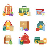 Lunch box and bag with healthy food for kids. Vector illustrations in flat style royalty free illustration