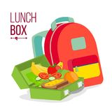Lunch Box And Bag Vector. Healthy School Lunch Food For Kids, Student. Isolated Flat Cartoon Illustration Stock Images