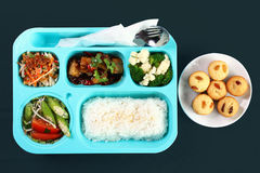 Lunch Box ,Bento - Meat with chicken fries, Cabbage Salad, Rice Royalty Free Stock Images