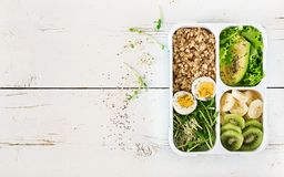Lunch box with boiled eggs, oatmeal, avocado, micro greens and fruits. Healthy fitness food. Take away. Lunchbox. Top view stock image