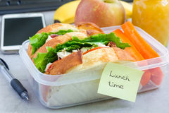Lunch box with chicken salad sandwiches and carrot sticks, horizontal Stock Image