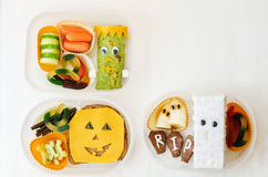 Lunch box for children in the form of monsters Royalty Free Stock Photo