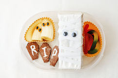 Lunch box for children in the form of monsters. For Halloween. the toning. selective focus royalty free stock photos