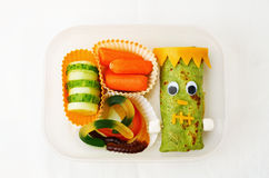 Lunch box for children in the form of monsters. For Halloween. the toning. selective focus stock photo
