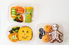 Lunch box for children in the form of monsters. For Halloween. the toning. selective focus royalty free stock photo