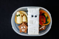 Lunch box for children in the form of monsters for Halloween Royalty Free Stock Photography