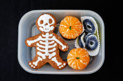 Lunch box for children in the form of monsters for Halloween Royalty Free Stock Photos